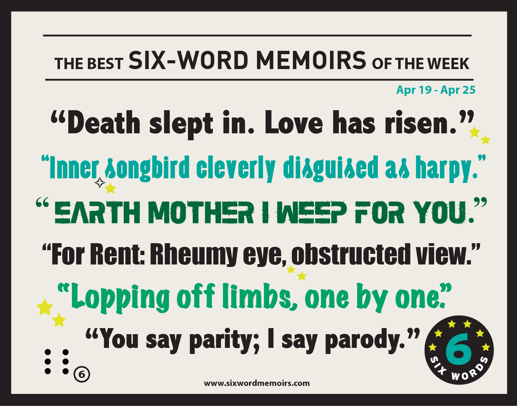 Six word memoirs   Writing prompts or novel ideas   Six ...