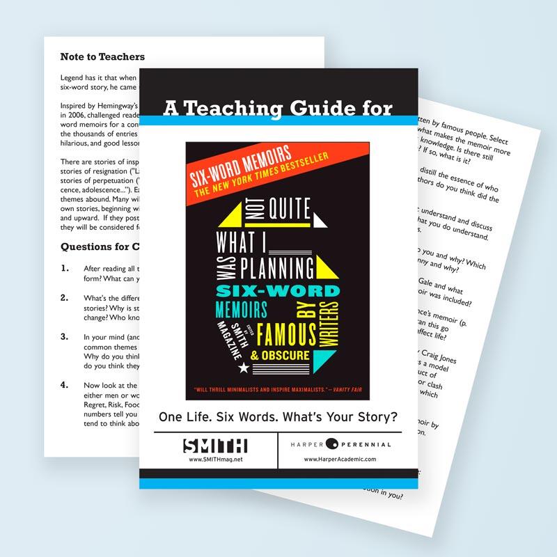 Free Six Word Teaching Guides Six Word Memoirs